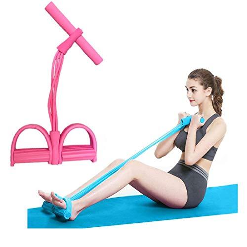 Ducomi Fascia di Resistenza - Corda Elastica Multifunzionale per Allenamento Addominali Gambe Glutei a Casa o in Palestra con Manubri - Corda Fitness Ginnastica Yoga - Pull Rope Pedal (Pink)
