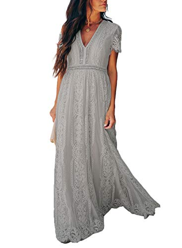 Bdcoco Women's V Neck Floral Lace Wedding Dress Short Sleeve Bridesmaid Evening Party Maxi Dress Gray