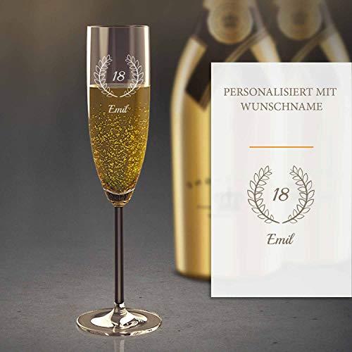 Sektglas Personalisiert mit Gravur (18. Geburtstag) | Edles Sekt-Glas mit Namen | Personalisierte individuelle Geschenkidee | Geeignet für Champagner & Sekt