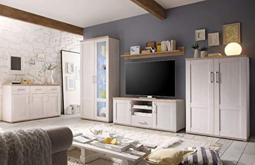 Froschkönig24 Romance Wohnzimmer Set Komplettset Wohnwand Anbwauwand Wohnkombination Weiß