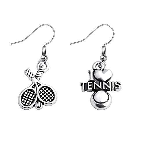 Tennis Earrings I Love Tennis Gift Sports Earrings Tennis Racket Jewelry Tennis Players Gift for Tennis Lovers Fans Tennis Earrings for Women Girls