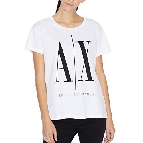 Armani Exchange Iconic Logo Camiseta, Blanco (White W/Black/Bronze 5101), Small para Mujer