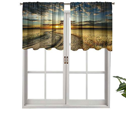 Hiiiman Cortinas pequeñas para ventana, filtro de luz, camino en el campo con jardín de trigo amarillo maduro, juego de 1, 91,4 x 45,7 cm para cocina, comedor, habitación de niñas