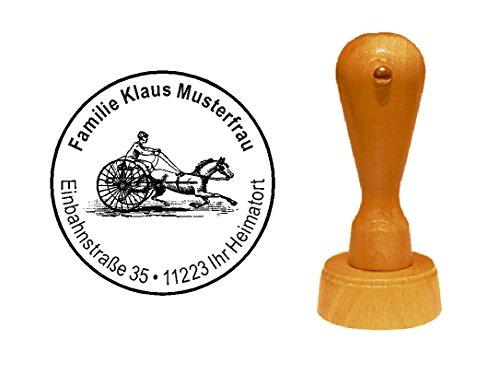 Sello sellos de madera diseño sello « Sulky Caballos Sport » con Personal–trab Racing Caballos Carreras de direcciones Evolución antiadherente Mode Fight