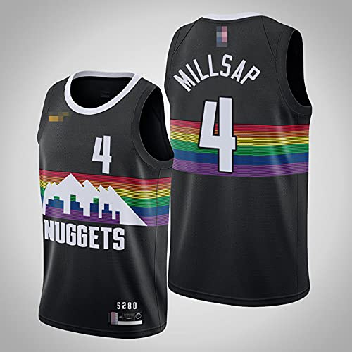 YZQ Jerseys De Baloncesto De Los Hombres, NBA Denver Nuggets # 4 Paul Millsap - Chaleco Transpirable Suelto Uniformes Classic Comfort Camiseta Sin Mangas Tops,Negro,L(175~180CM)