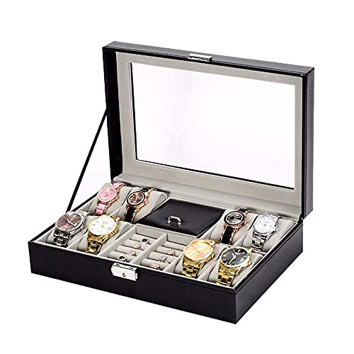 JIANGCJ Bella Reloj Organizador Transparente Tapa Tapa Tapa Metal Bisagra Negro PU Cuero 8 Slots Watch Funda de Almacenamiento Caja de joyería Caja de relojería