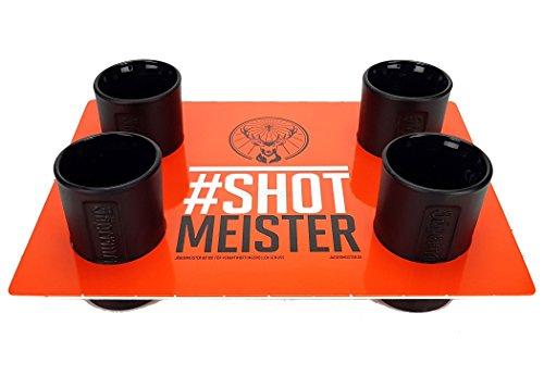 Jägermeister Shotglas Set schwarz - 4x Shotgläser + Halter