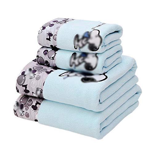 XYFL Mikrofaser-Badetuch 4 Cartoon-Bedruckte Badetücher Set 2 Badetücher 2 Handtücher Superweich Und Hochsaugfähig,Blue