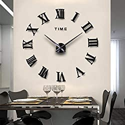 MiLa 3D Frameless Wall Clock Large Stickers DIY Wall Decoration for Living Room Bedroom (Black)