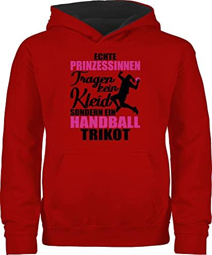Sport Kind - Echte Prinzessinnen tragen kein Kleid sondern EIN Handball Trikot - schwarz/Fuchsia - 104 (3/4 Jahre) - Rot/Schwarz - Geschenk - JH003K - Kinder Kontrast Hoodie