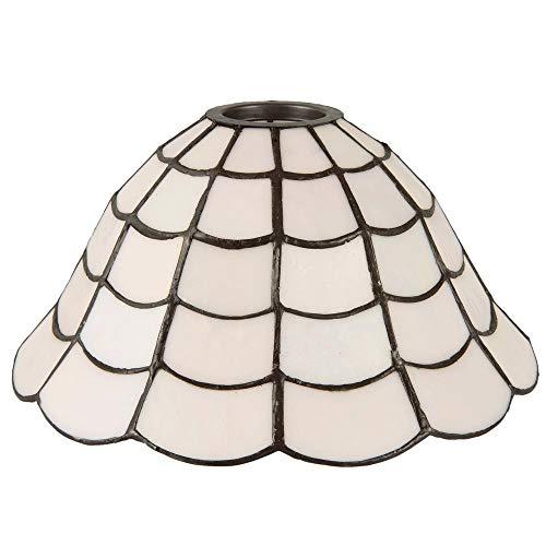 LumiLamp 5LL-5935 - Paralume Art Deco in Vetro colorato Tiffany, Ø 24 x 12 cm, Colore: Bianco