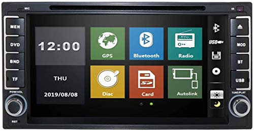 HIZPO Car in Dash Stereo 2Din GPS DVD Player Navigation Radio Support BT/SWC/Rear Camera/Subwoofer fit for Toyota