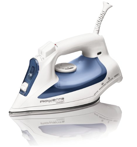 Rowenta DW2070 Effective Comfort 1600-Watt Steam Iron Stainless Steel Soleplate with Auto-Off, 300-Hole, Blue
