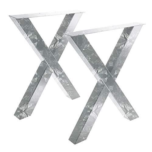 Bentatec 2 Stück - Tischgestell Feuerverzinkt X - 8080 Tischbein Tischkufen Esstisch