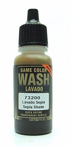 Vallejo Game Color Wash - Vernice Acrilica Trasparente ad Asciugatura Rapida, 17 ml, Marrone (Sepia)
