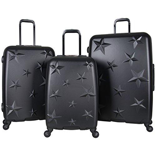 Aimee Kestenberg Women's Star Journey Hardside 4-Wheel 3-Piece Luggage Set: 20' Carry-on, 24', 28', Black