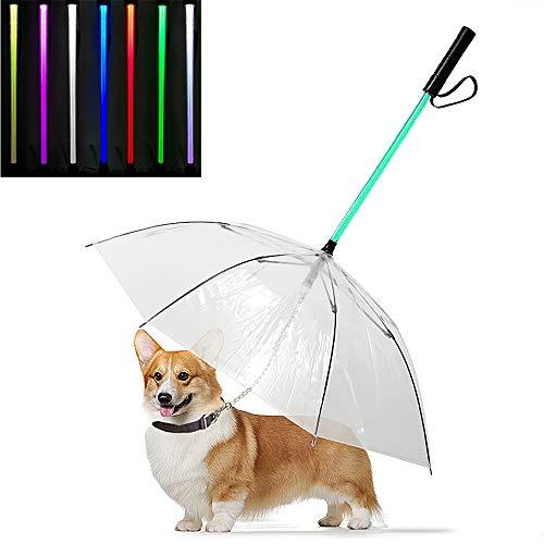 Yhjmdp Huisdier Hond Paraplu Leash LED Transparant Waterdichte Gloeiende Huisdier Paraplu Zaklamp Handvat voor Walk Hond Huisdieren in Regenachtige Dag