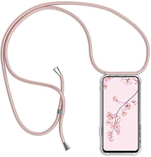 Handykette Handyhülle für iPhone 6 / 6s mit Band - Handy-Kette Handy Hülle mit Kordel zum Umhängen Handyanhänger Halsband Lanyard Case-Roségold