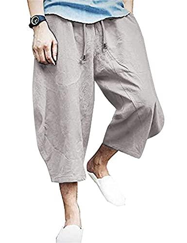 JINIDU Men's Casual Cotton Linen Pants Patchwork Elastic Baggy Capri Trousers