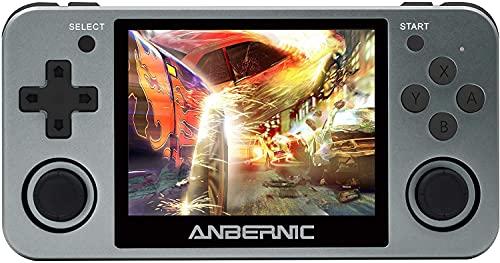 Anbernic RG350M Consola de juegos portátil, consola de juegos retro OpenDingux Tony System incorporado 32G TF tarjeta 2500 Classic Game Console pantalla IPS de 3.5 pulgadas (gris)
