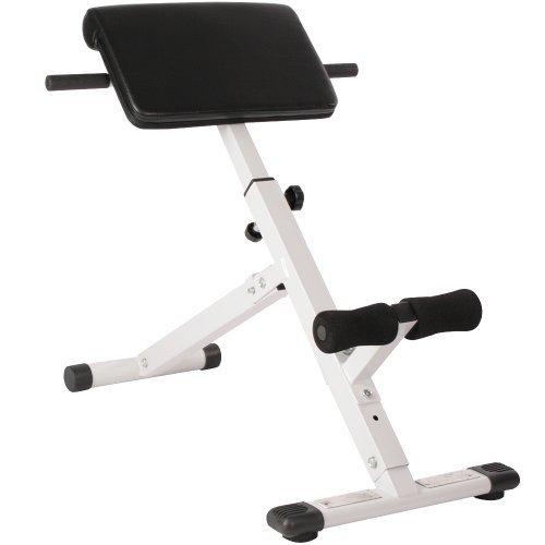 Physionics Rückentrainer Geräte - Klappbar & Höhenverstellbar (4-stufig), 45°, mit Gepolsterter Beinfixierung, Max. Belastung 120 kg - Bauchtrainer, Hyperextension, Rückenstrecker