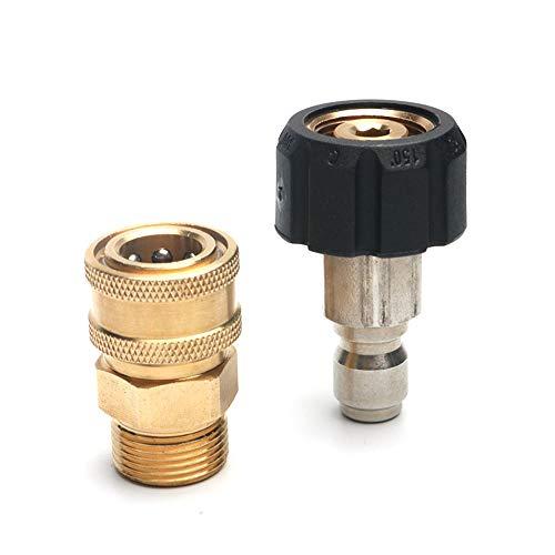 Hogedrukreiniger Tuinslang Snelkoppeling Wasmachine Adapter Tuinirrigatie Snelkoppeling Messing M22-15MM Slang Snelkoppeling,2pcs/set