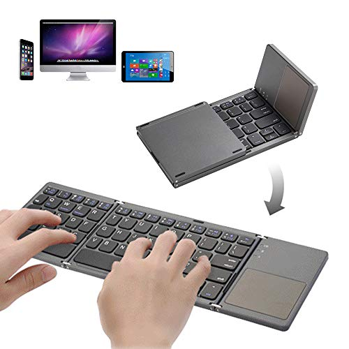 Vapechaser Tastiera Pieghevole Bluetooth Tastiera Wireless Portatile Tastiera Bluetooth Touch Tri-Fold per iPhone, iPad Air, iPad Mini, iPad PRO, Windows, iOS, Android (Grigio Scuro)