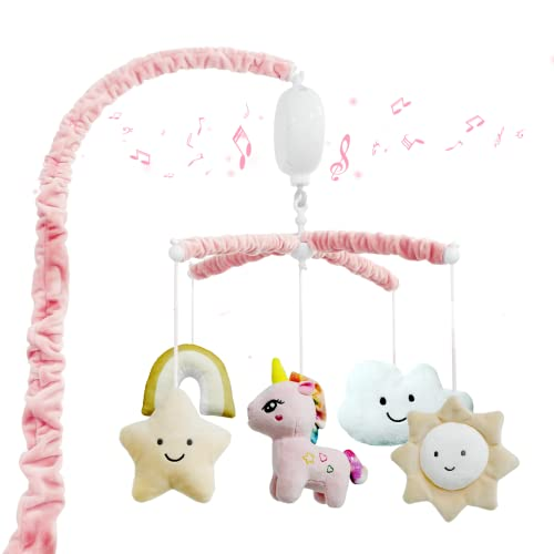 FEISIKE Baby Crib Mobile for Infant Girls Boys with Rotate Musical Box,Include 12 Lullabies,Pink,Nursery Toys for Newborn Ages 0 and Older