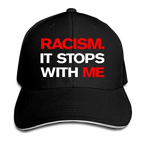 Jopath Racism It Stops with Me Gorra ajustable para papá, sombrero de camionero, unisex, para exteriores, con visera de sol, color negro