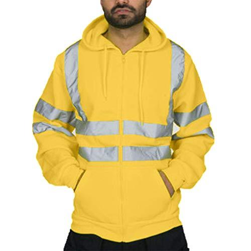 Skxinn Herren Hohe Sichtbarkeit Kapuzenpullover Workwear Warnschutz Hoodie Reflektierend Sicherheitsjacke Atmungsaktiv Langarm Arbeitskleidung Kapuzenpulli Sweatshirt Top(Z2-Gelb,XXXXXX-Large)