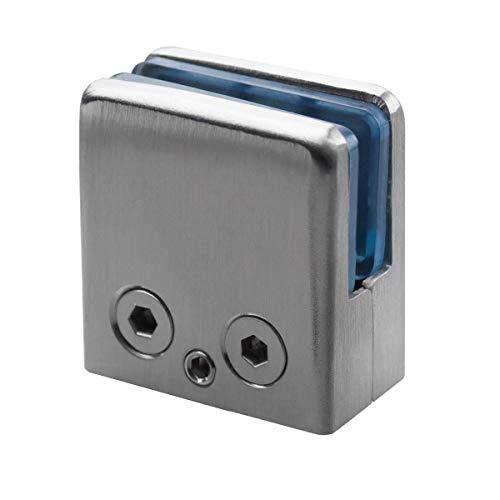 GLASHALTER aus Edelstahl 44x46mm Auswahlmöglichkeit: Flach oder Ø42,4mm Rohr (Anschluss: Flach)