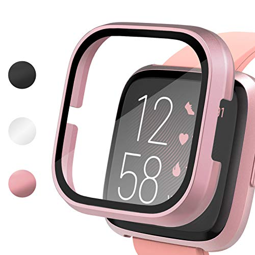 Vitty Hard PC Case with Tempered Glass Screen Protector Compatible with Fitbit Versa 2, Full Coverage Protective Bumpers Cover, Sensitive Slim Touch Screen for Versa 2 Smart Watch Only Georgia
