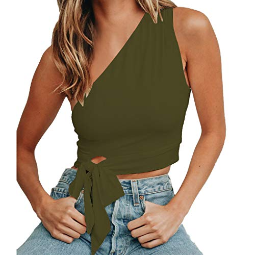 WEEPINLEE Women's Sexy One Shoulder Sleeveless Bowknot Shirts Crop Tops (Army Green, M)