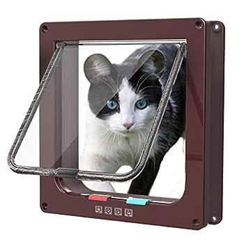 Sailnovo Chatière pour Chat Chatière magnétique avec verrou Rotatif à 4 Voies pour Chat (M: 16 x 15.7 x 5.5 cm, Marron)