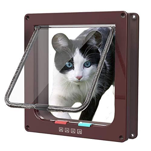 Sailnovo Puerta para Gato con Cierre magnético de 4 vías, Puerta para Mascotas para Gatos y Perros pequeños, Puerta para Gatos con túnel (Marrón, M)