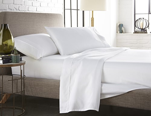 Westbrooke Linens 400 Thread Count 100% Long-Staple Cotton Pleated Hem Sheet Set, Solid Sateen Weave, Wrinkle Free, Elastic Deep Pocket, Hotel Collection, Luxury Bedding Sheet Set (Full, White)