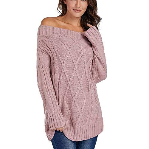CUYOC Damen Pullover Sexy Einfarbig EIN-Schulter Langarmpullover Sweater