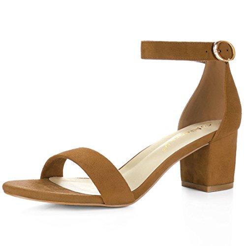 Allegra K Women's Open Toe Mid Block Heel Ankle Strap Sandals (Size US 8.5) Brown