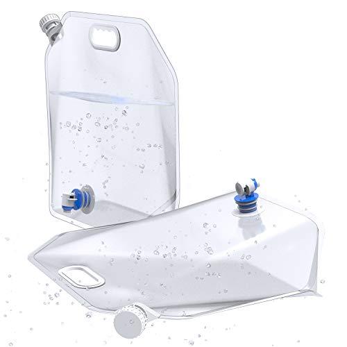 Generic001 2 bidones de agua plegables de 10 L, portátil, recipiente plegable para agua potable con grifo, perfecto para camping, senderismo, escalada u otras cosas al aire libre