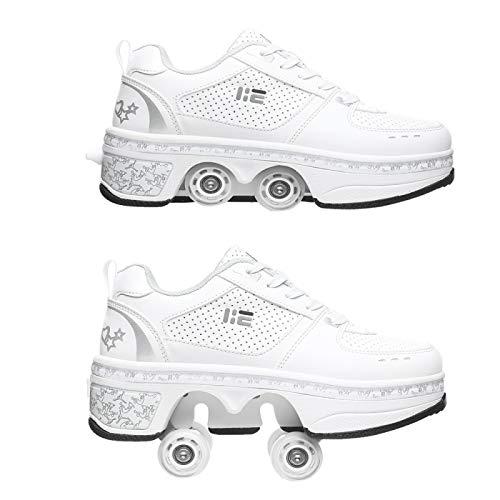 Kick Roller Skate Schuhe/Shoes,Schuhe Mit Rollen Skateboardschuhe Kinder,Quad Skate Rollerskates Für Damen,2 In 1 Inline Skates Herren,Unisex Sport Freizeit Laufschuhe Sneakers,White-42EU/UK7.5