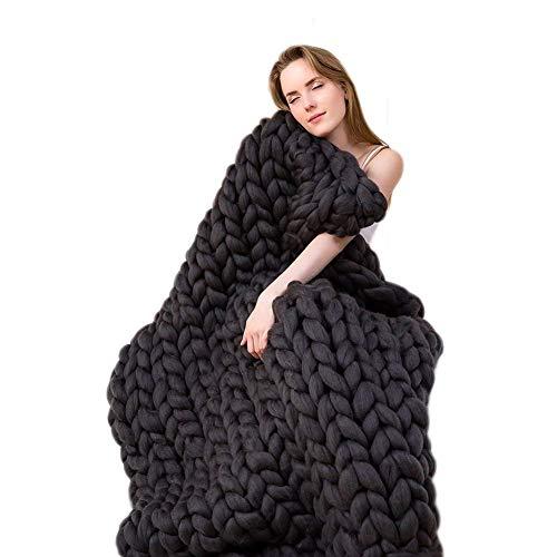clootess Chunky Knit Blanket Merino Wool Hand Made Throw Boho Bedroom Home Decor Giant Yarn (Black 40'x40')