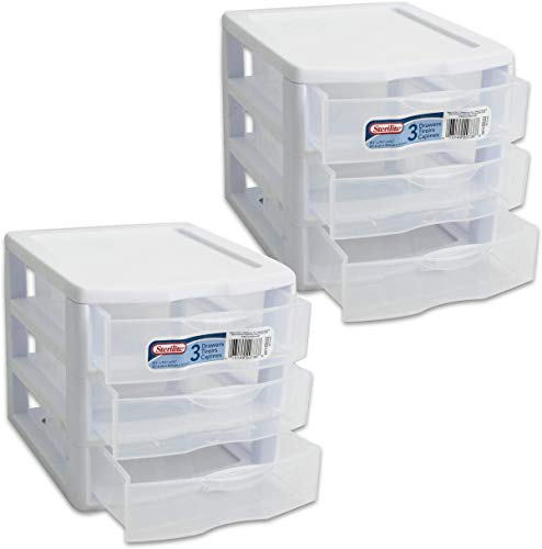 Sterilite Organizer Small 3 Drawer Unit White Frame with Clear Drawers 20738006 2-Pack