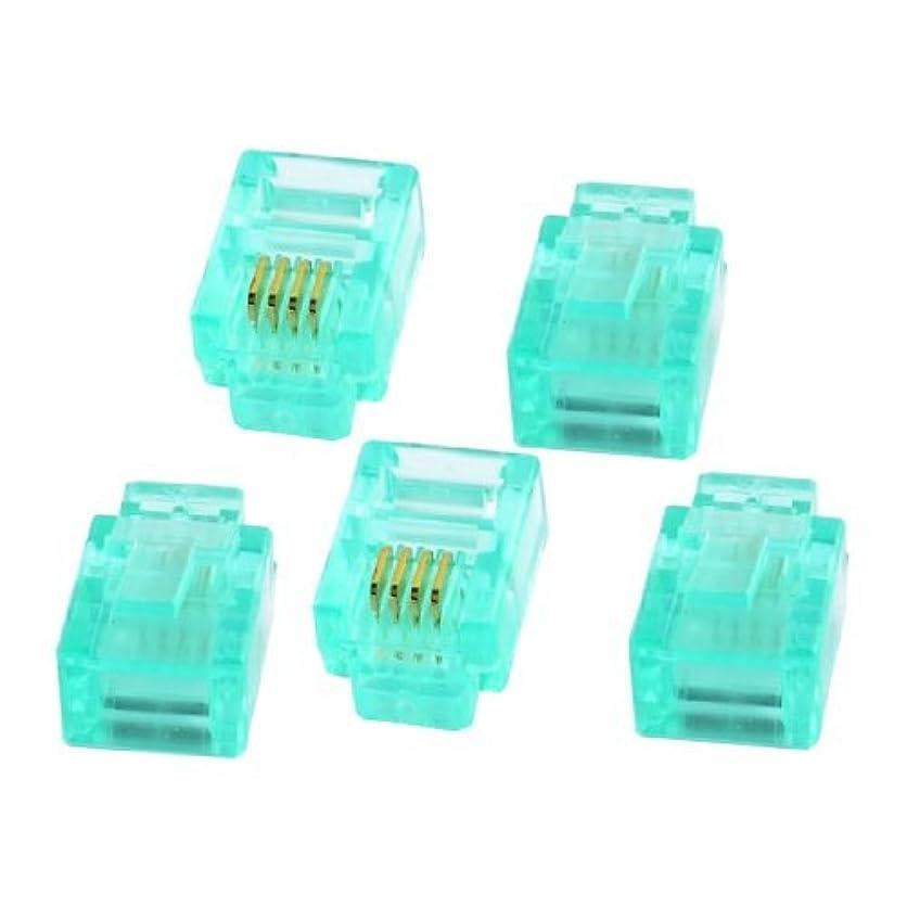 スカウト暗記する六分儀5個ライトグリーンプラスチックハウジング6P4C RJ11プラグ電話ケーブルコネクタ