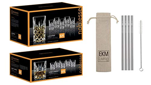 Spiegelau & Nachtmann x EKM Living, set da 4 long drink/whisky Noblesse con set di 4 cannucce in acciaio inox EKM Living (6 whisky + 6 long drink)