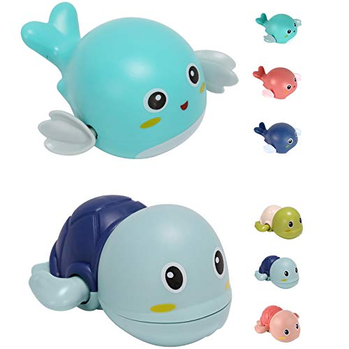 Elfin Baby Bath Toys for 1-5 Year-Old Children Clockwork Bathtub Pool Bath Toys Cute Turtle Dolphin Bath Toys Birthday/Christmas for Toddlers Kids-8 Pieces