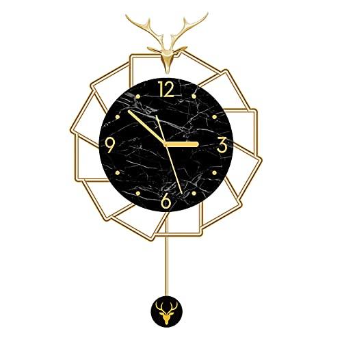 QFNB Northern Europe - Reloj de pared de metal, moderno y minimalista, diseño de personalidad, silencioso, creativo, péndulo, con números arábigos, para sala de estar, dormitorio, cocina, oficina