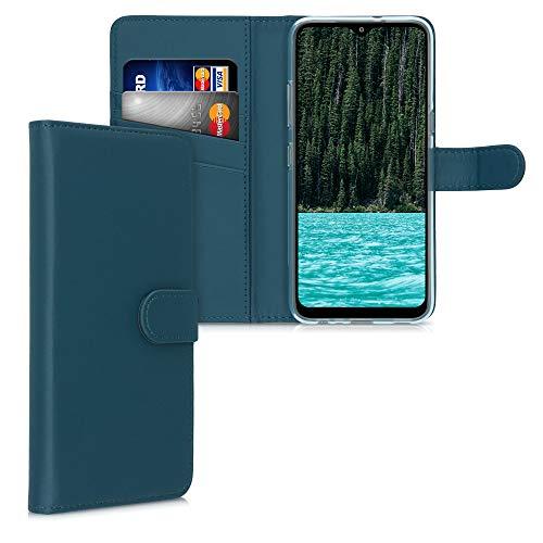 kwmobile Hülle kompatibel mit LG K41S - Kunstleder Wallet Hülle mit Kartenfächern Stand in Petrol