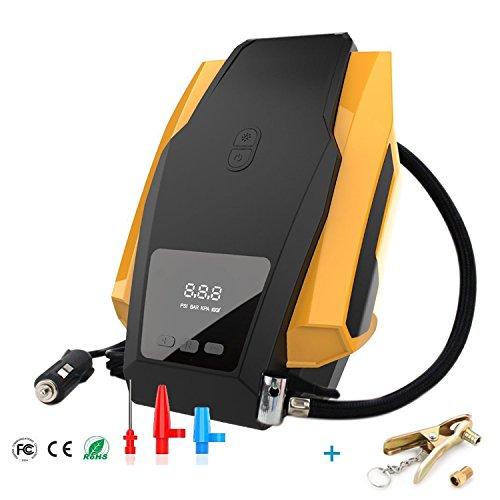 Micowin Compresor de Aire, Bomba Inflador Portátil con Luz (12V, 150 PSI, 3 Unidades Cambiables, 2.8m Cable con Mechero, para Neumáticos, Objetos Inflables)
