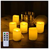 """Beichi Set of 6 Remote Control LED Candles with Timer, Flickering Flameless Votive Candles, Long Lasting Battery Operated Unscented Candles, Ivory Electric Candles in Amber Yellow Flame, D1.5""""x2""""H"""