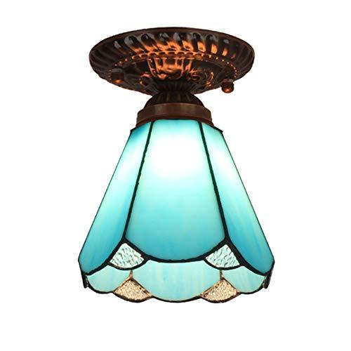 Lampade da soffitto in stile Tiffany, plafoniere da corridoio in vetro macchiato, paralume retro incassato, lampada da soffitto per sala da pranzo,A